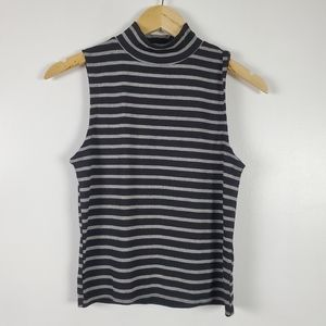 Poof! New York NWT mock neck striped tank grey/blk